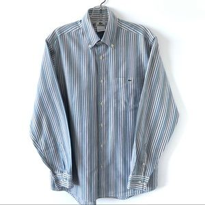 LACOSTE MEN'S STRIPED BUTTON DOWN CASUAL SHIRT